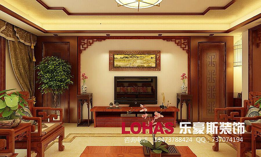 客厅电视墙装修效果图-西部枫景6号楼155平三室中式装修效果图