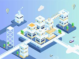 2.5D插画-城市场景