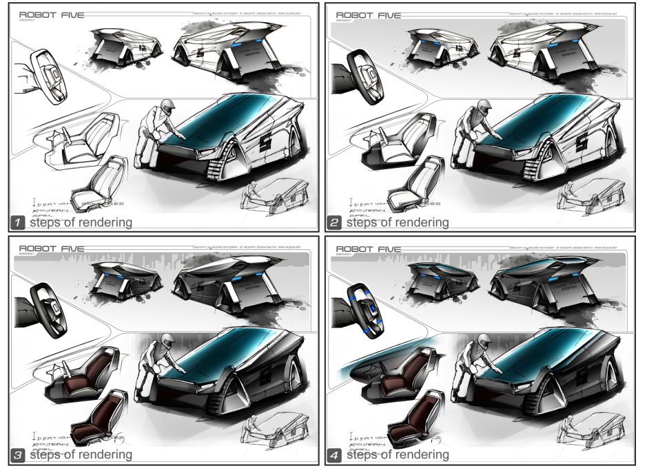 概念赛车设计手绘效果图步骤(从构图到线稿再到效果图