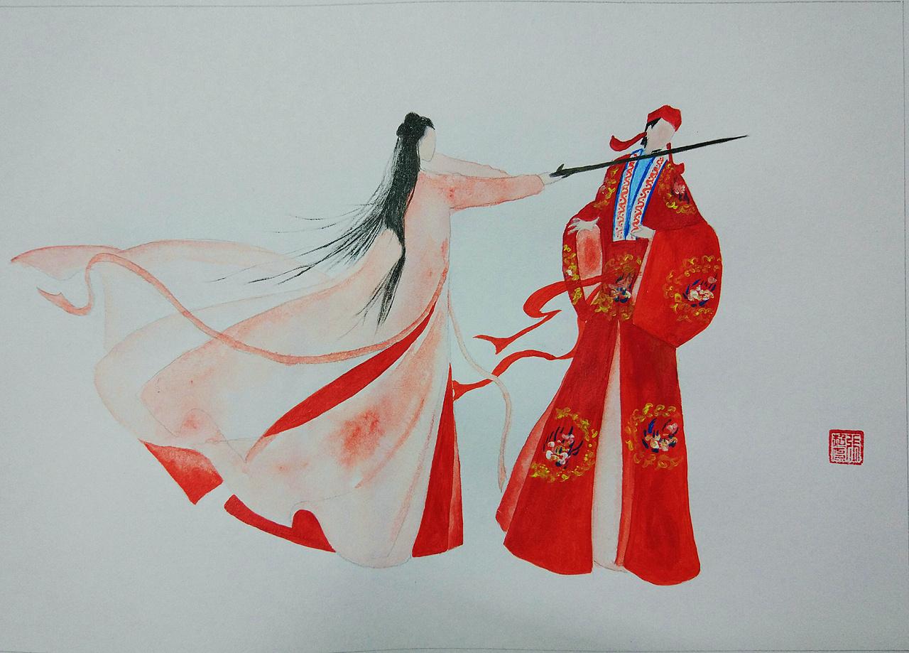 紫霞仙子和至尊宝|插画|插画习作|张若初 - 原创作品