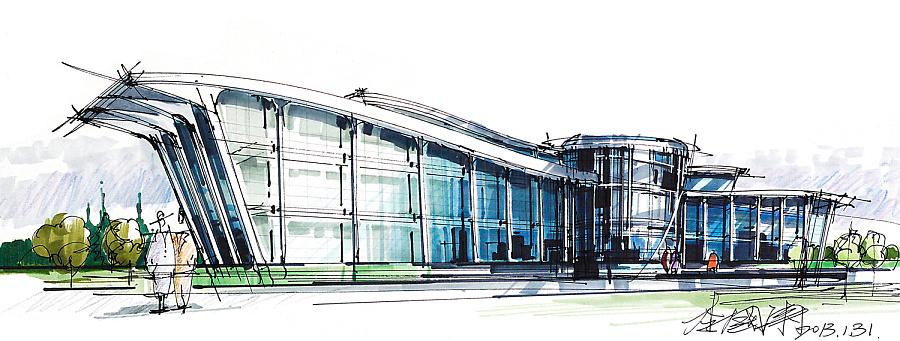 马克笔建筑手绘|建筑设计|空间|liguotao