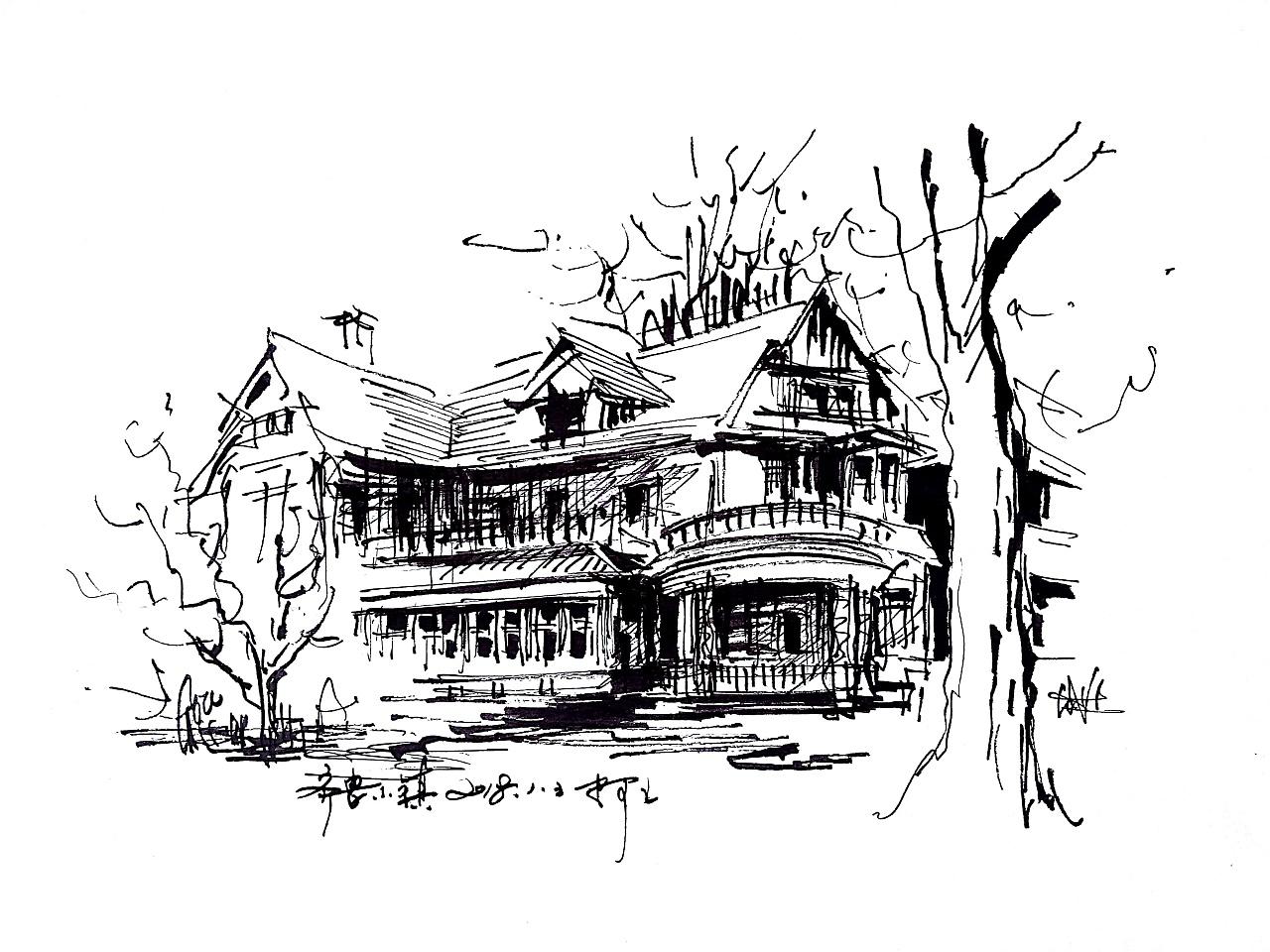速写钢笔画风景建筑速写阿王速写建筑