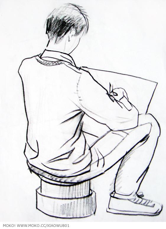 风景人物速写 绘画