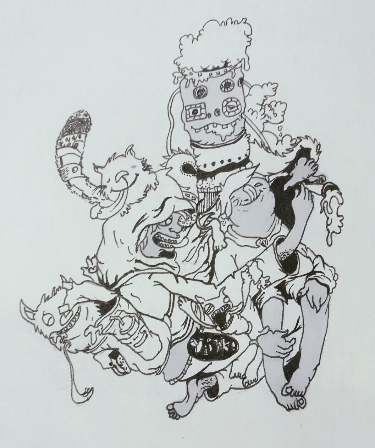 手绘怪物简笔画