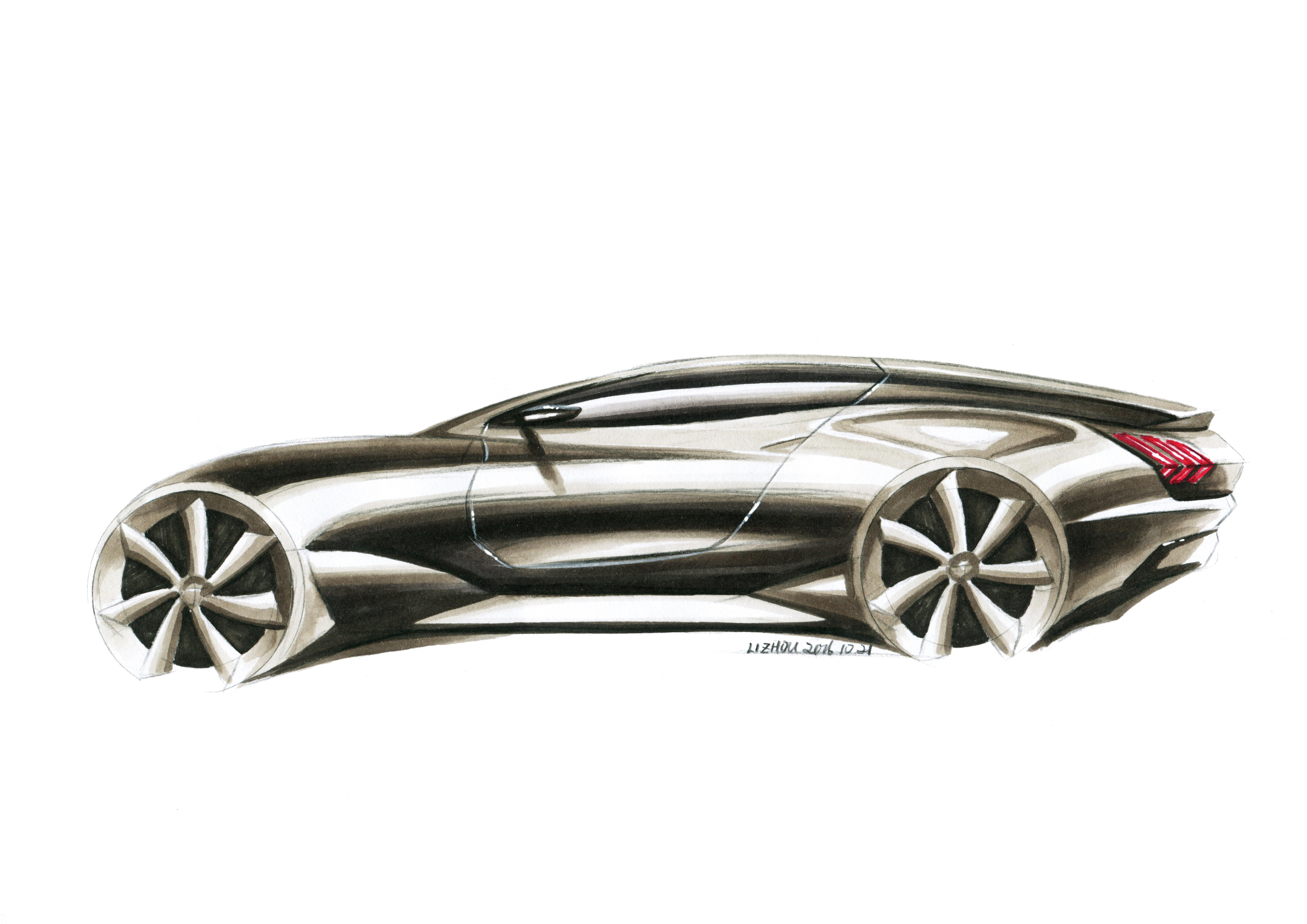 汽车设计,交通工具设计,设计手绘,马克笔快速表达