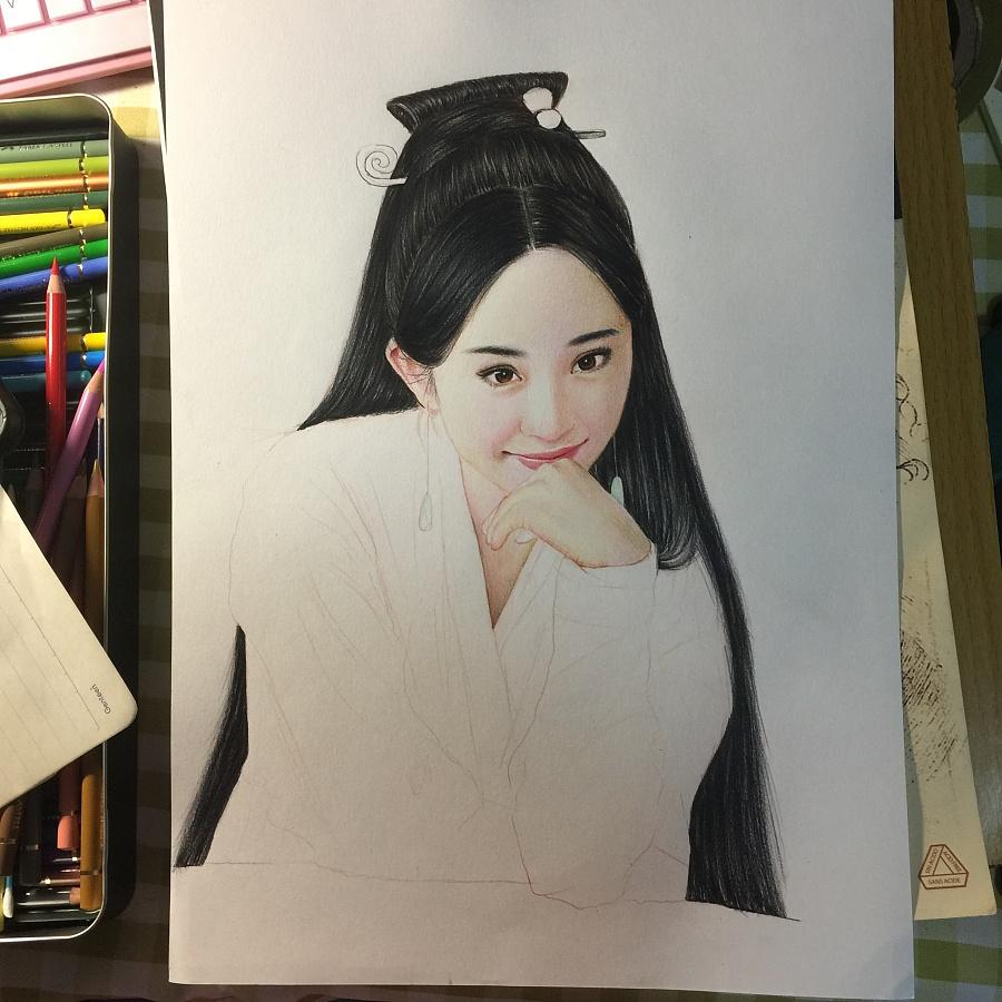 杨幂彩铅人物肖像|彩铅|纯艺术|爱