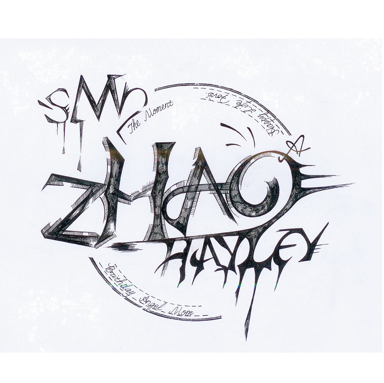 黑白字体手绘|插画|插画习作|smrzhao4295 - 原创作品