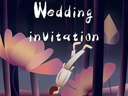 婚礼请帖 插画设计