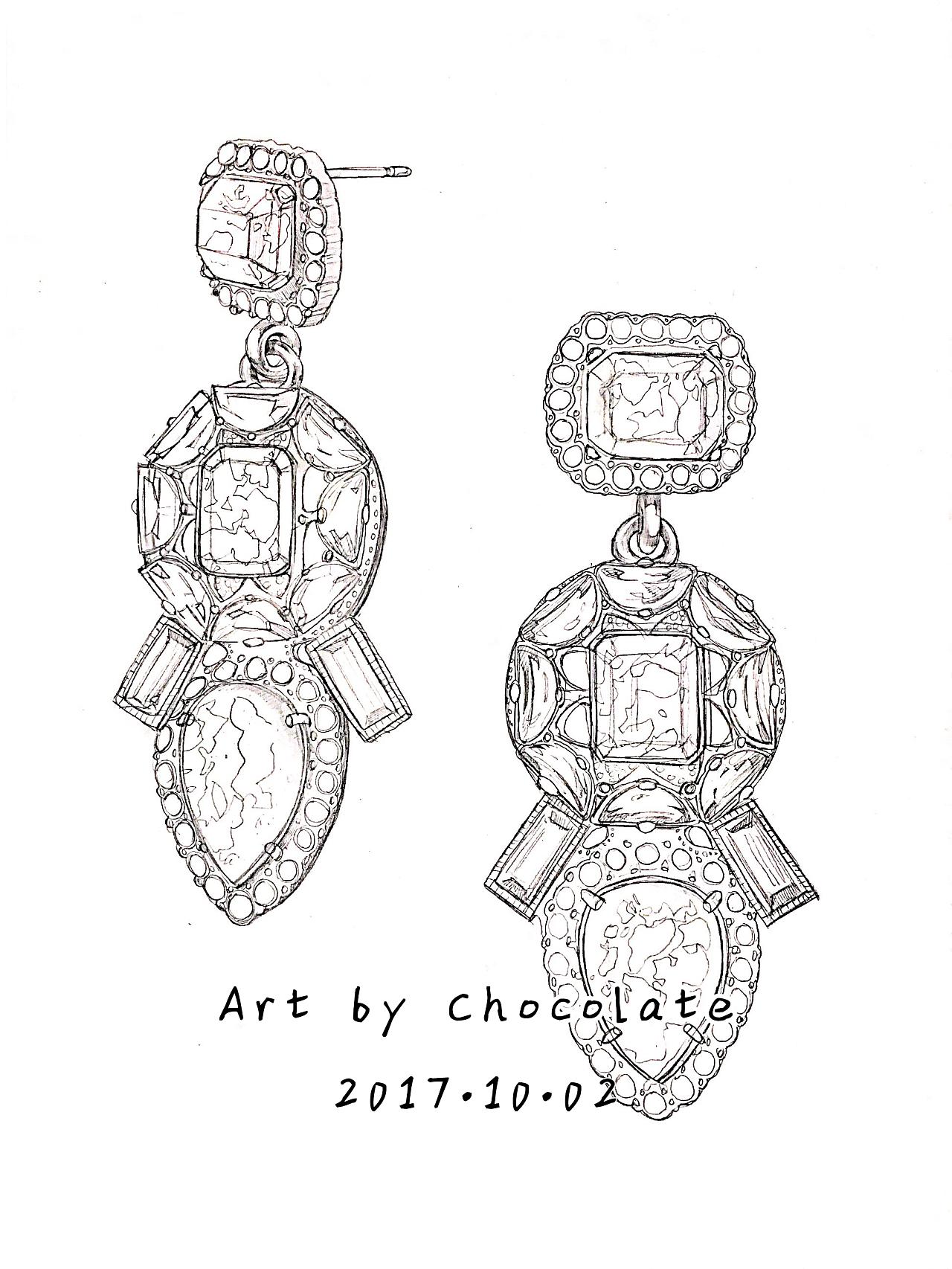 手绘珠宝首饰设计图线稿展示