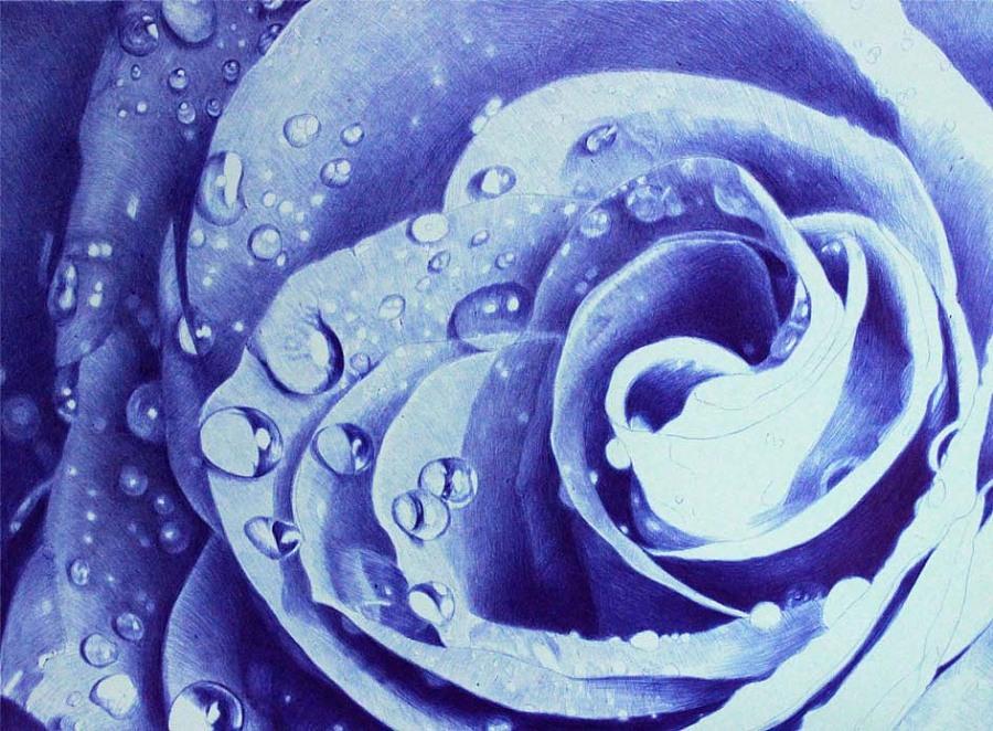 圆珠笔画水滴-蓝色妖姬