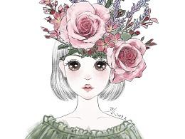 花艺创作女孩插画
