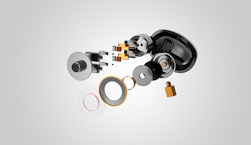 h1动铁耳机的产品部件爆炸效果图