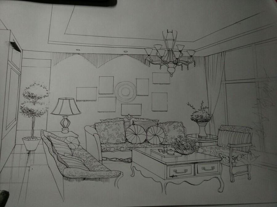巴洛克室内设计手绘图