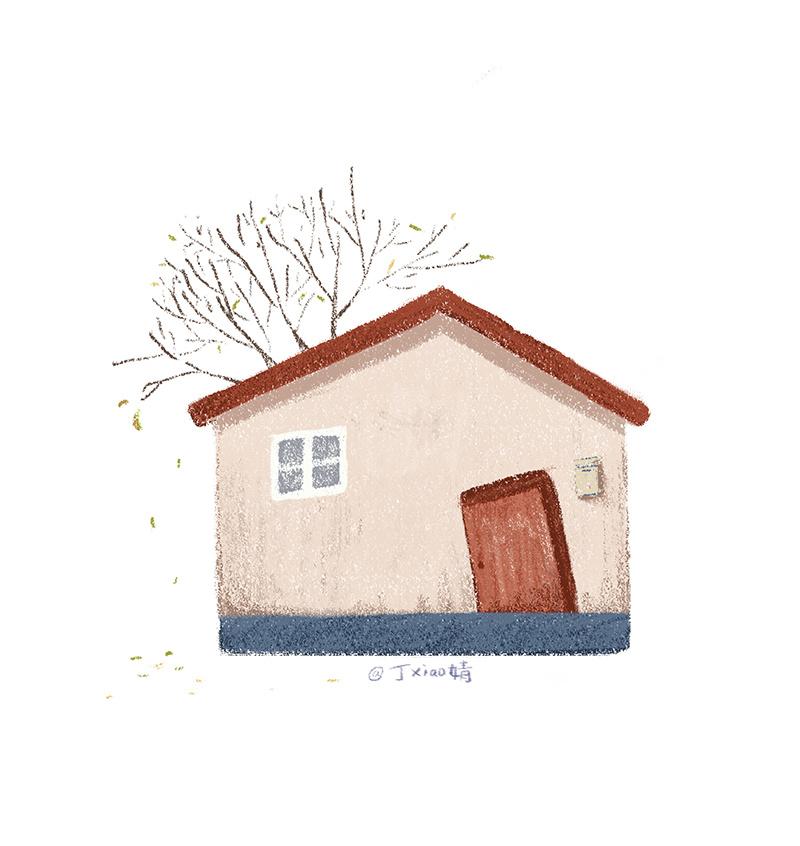 插画每日一图ps电脑手绘小房子