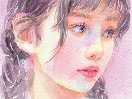 水彩人物——麻花辫少女绘画步骤分享