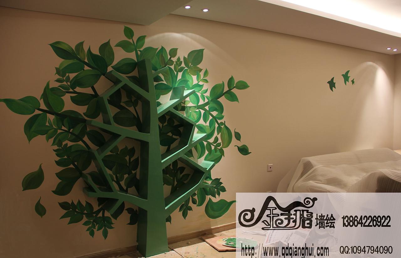 青岛金手指墙绘工作室手绘实例,现场拍摄