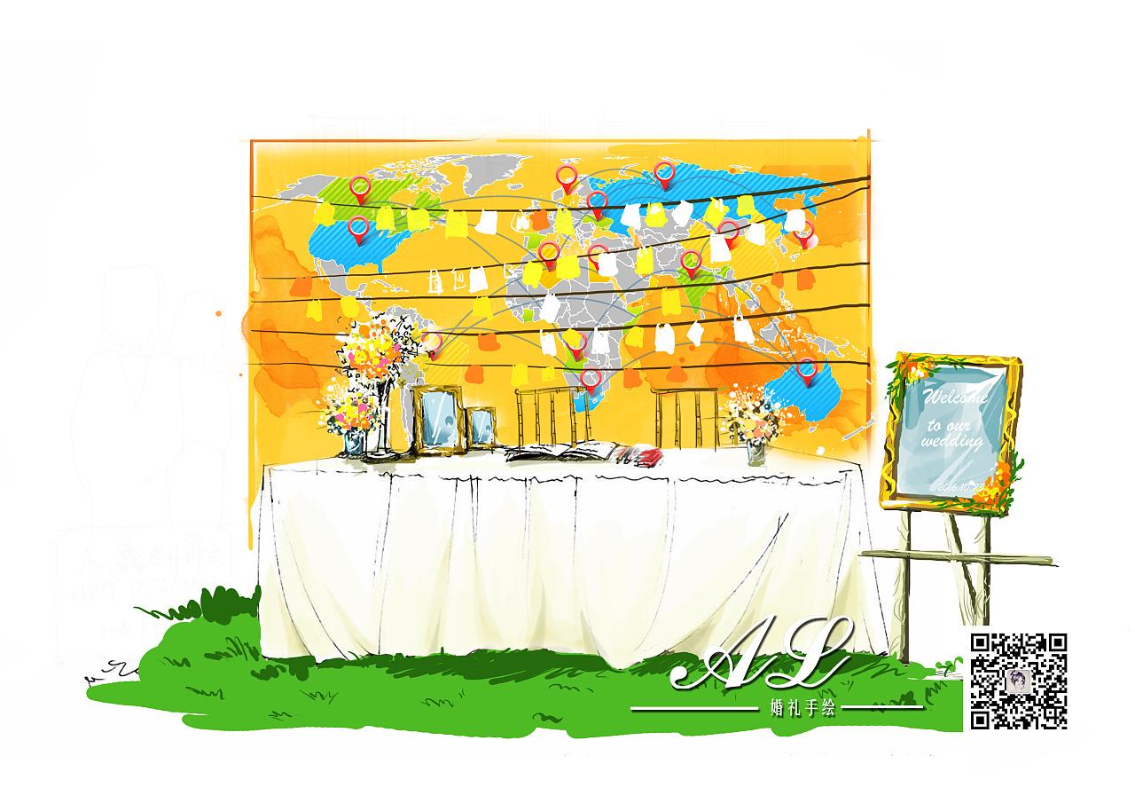 梦幻森系婚礼手绘图