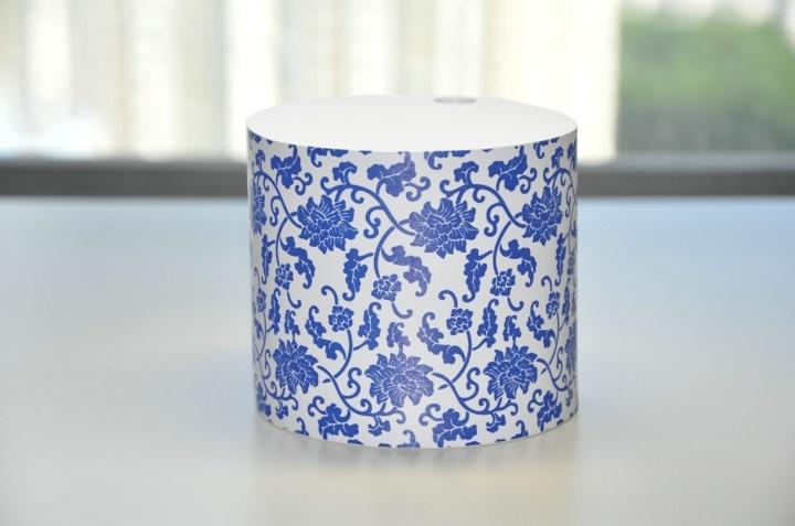 新中式创意纸品roundblackmemo纸匠圆柱形青花瓷便签纸砖