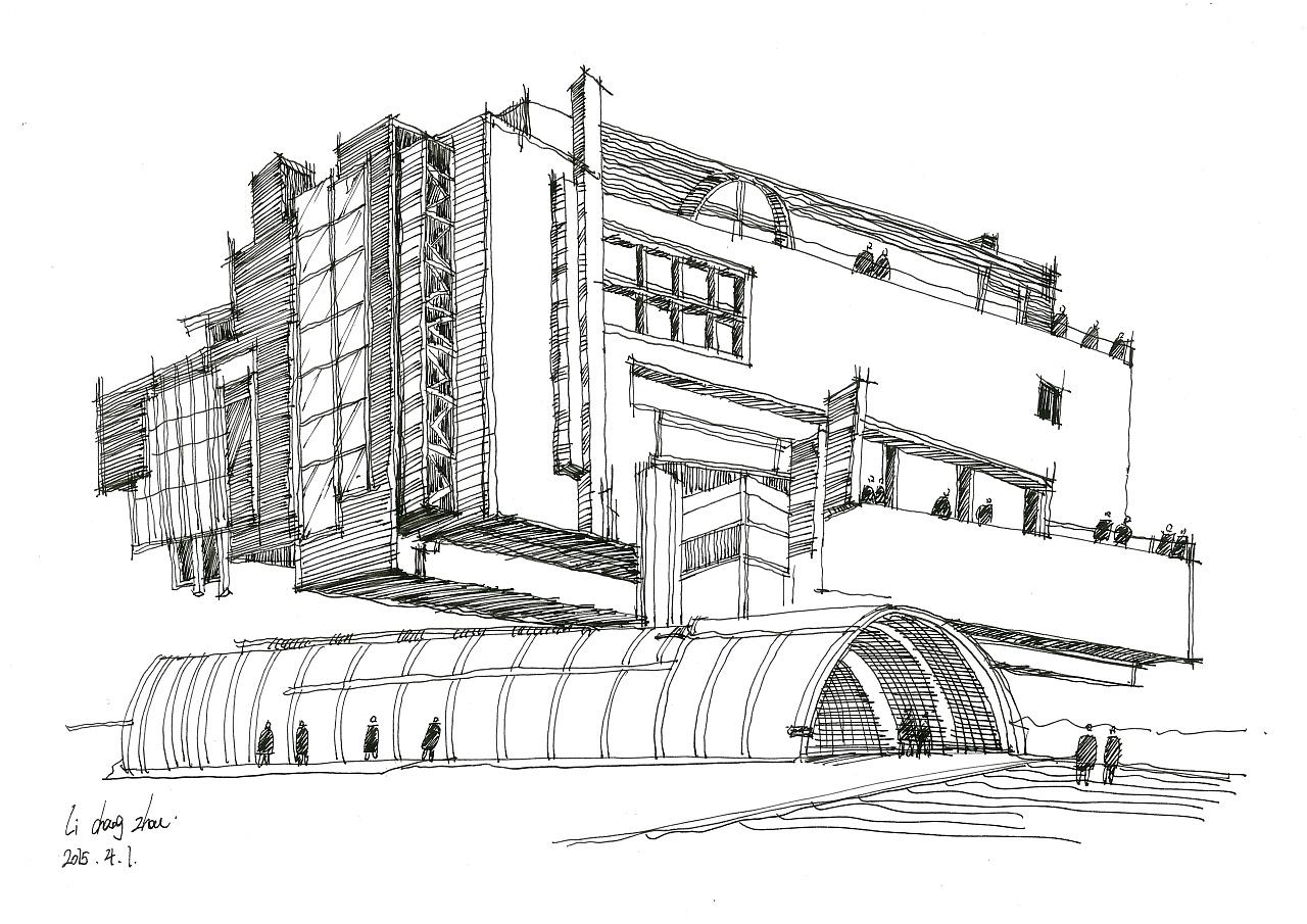 建筑钢笔画手稿