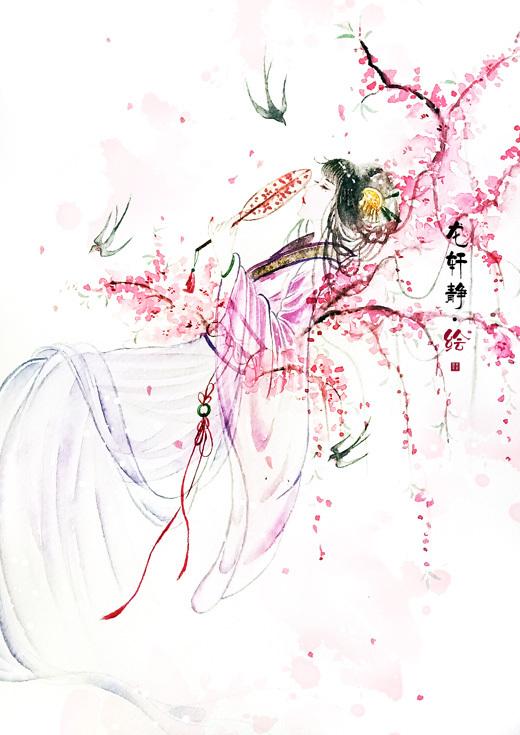 古风水彩手绘插画——桃枝燕语