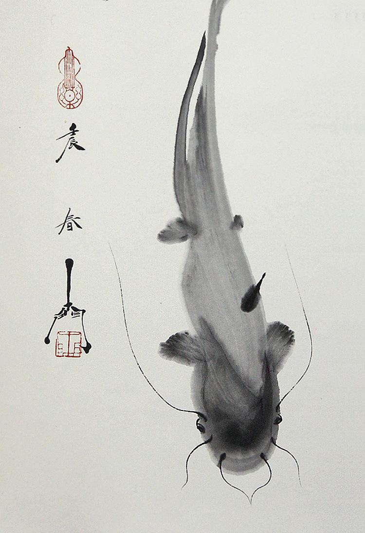国画鱼_国画 禅意画鱼 器世界国画青年艺术家孙进手绘原稿