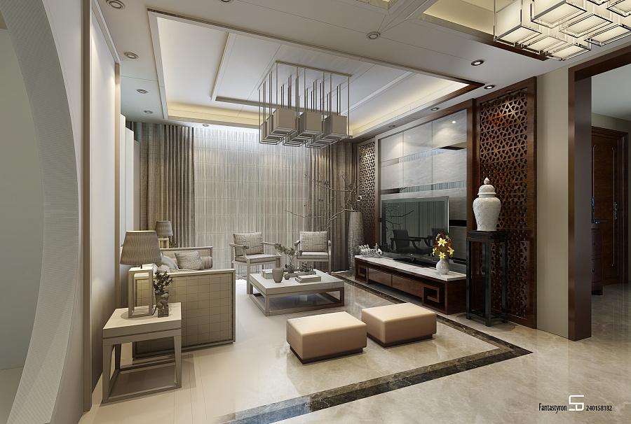 一个中式客厅效果