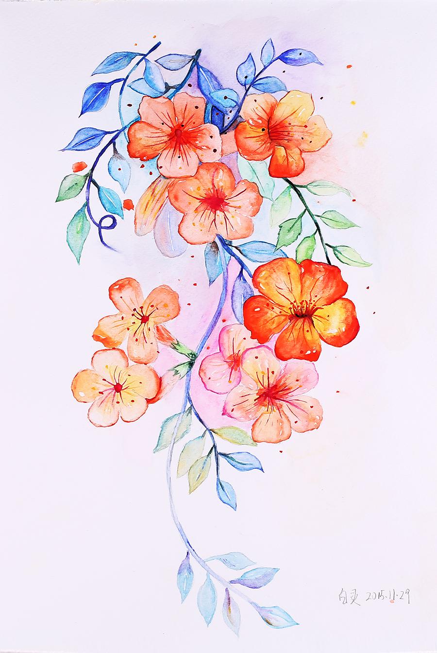 手绘插画花朵|水彩|纯艺术|素864236097