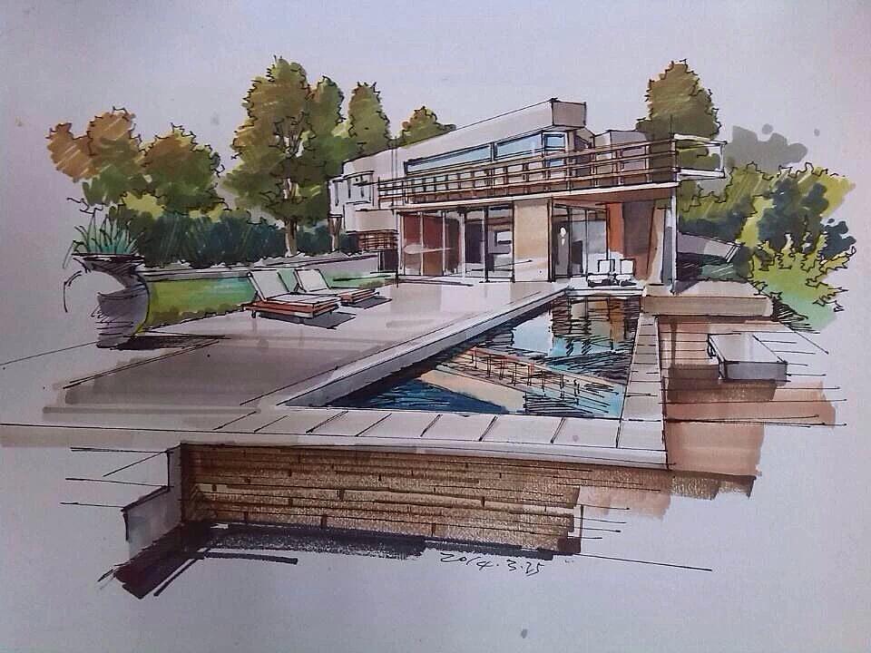 手绘图片,手绘效果图,马克笔上色,建筑设计,室内设计,风景园林,城市