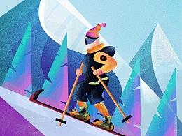滑雪 渐变插画 手绘板 - 日常练习作品