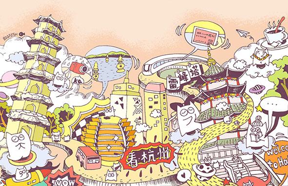 《杭州味道》系列手绘明信片|商业插画|插画|余奕big