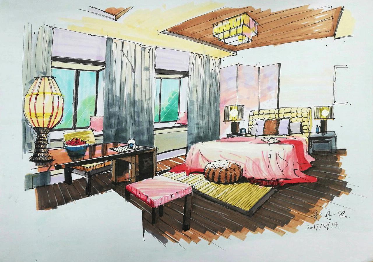 手绘练习 空间 室内设计 丹欣 - 原创作品 - 站酷