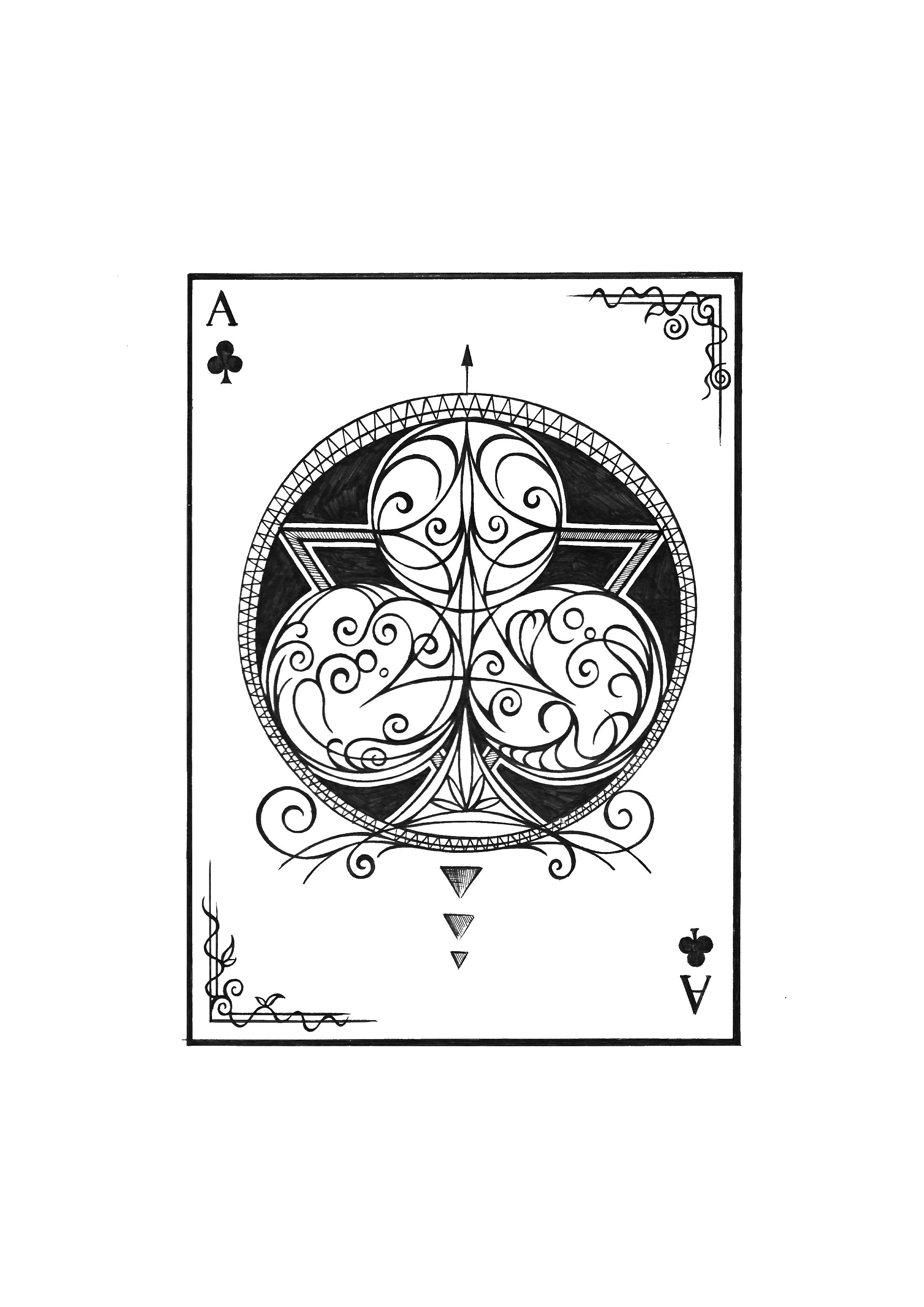扑克牌,手绘,黑白,装饰画,线条,哥特风,纹身手稿,刺青图案,图形设计