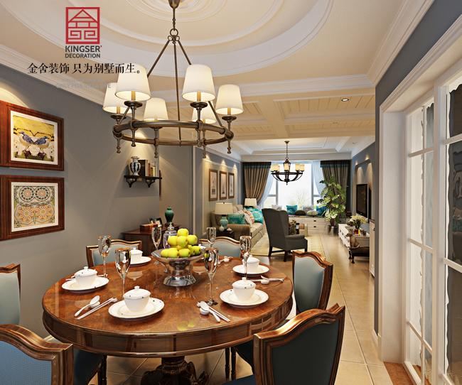 简美风格-三室两厅-石家庄金舍装饰|室内设计|空短裙服装设计图片
