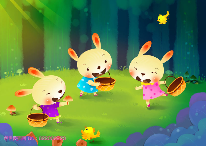 三只小兔子采蘑菇