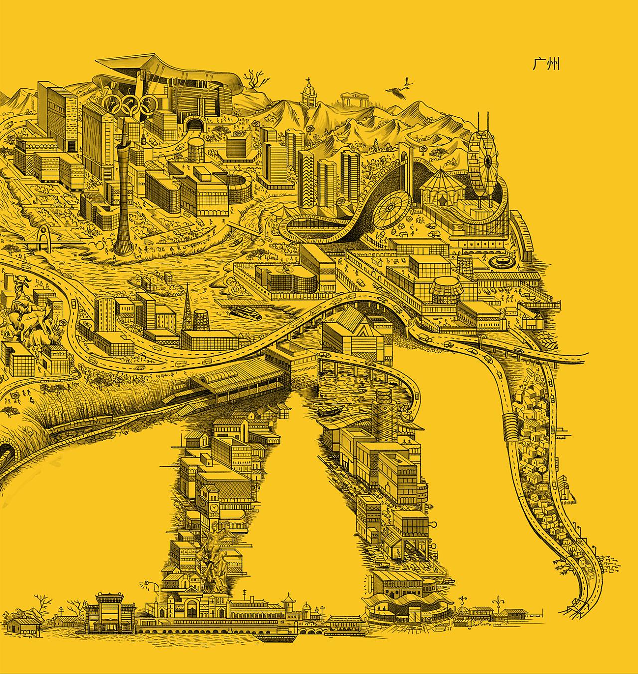 广州手绘地图|插画|商业插画|陈永荣 - 原创作品