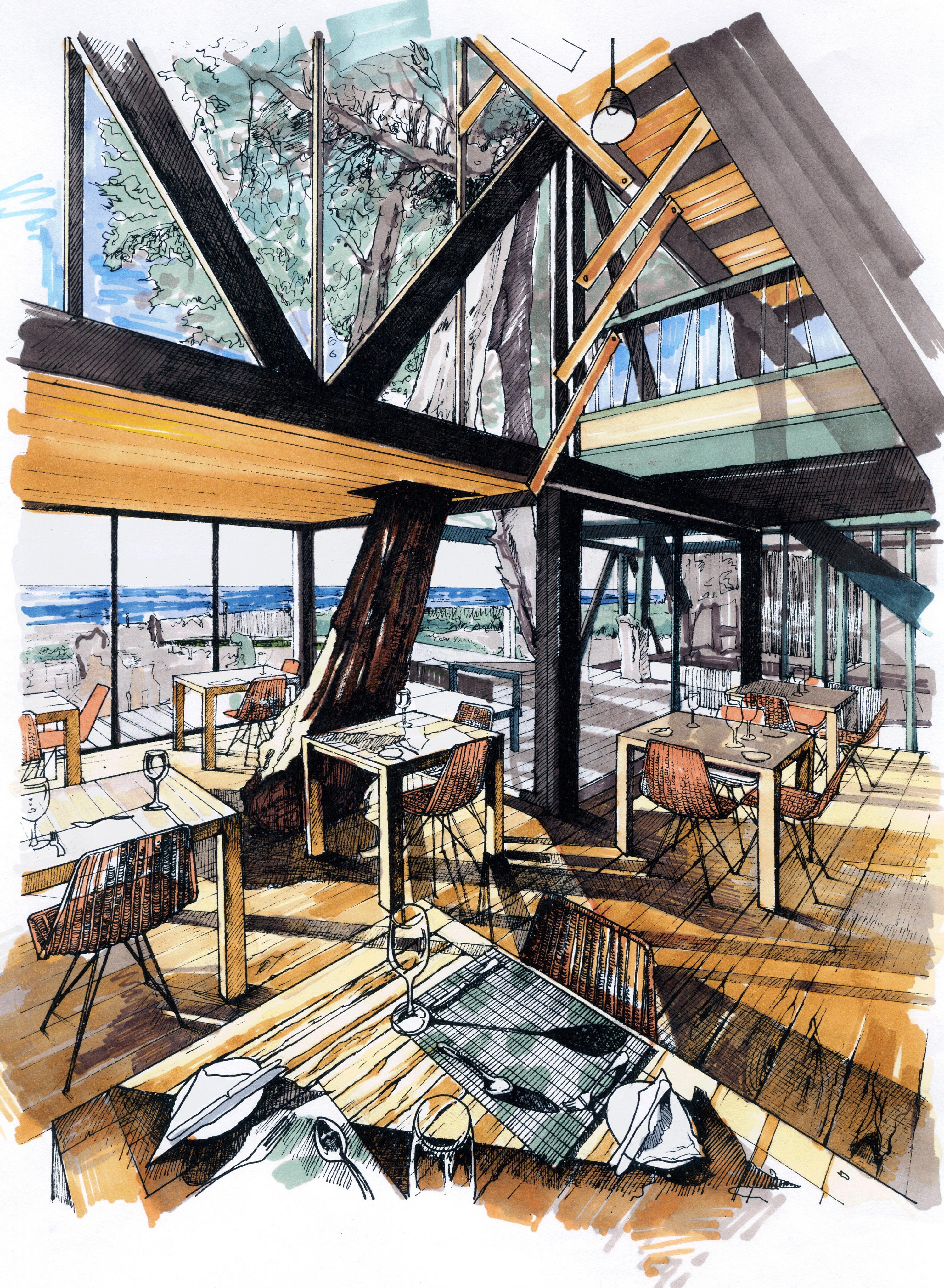 建筑手绘表现|空间|建筑设计|banana是苹果 - 原创