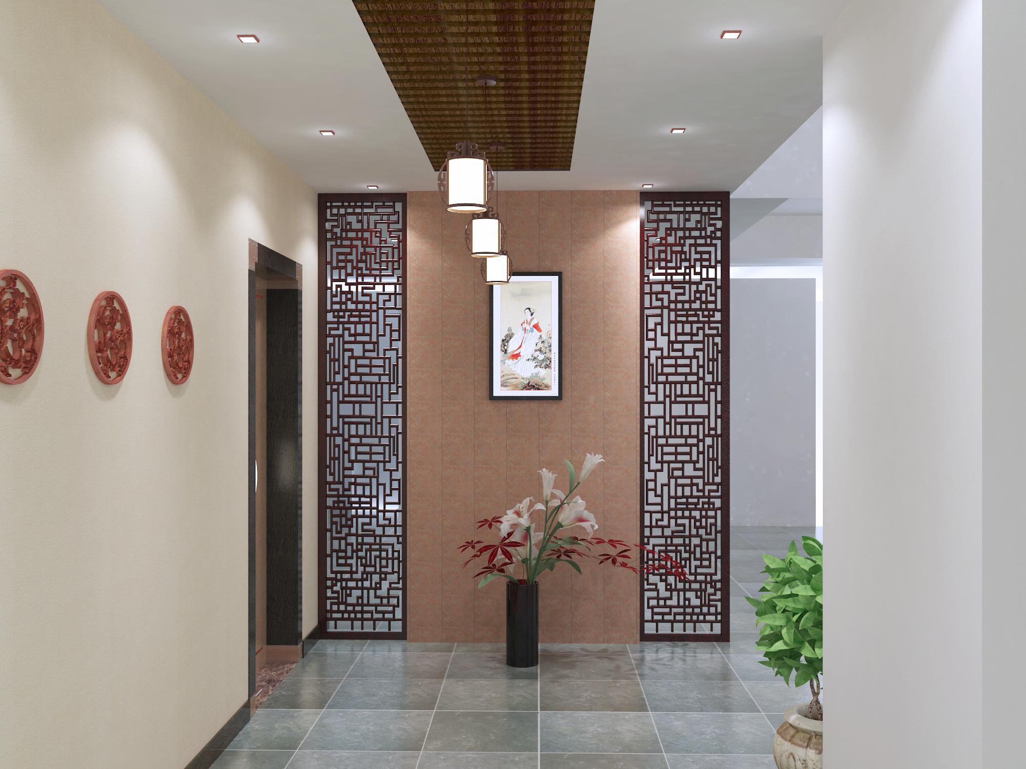 中式别墅玄关图片