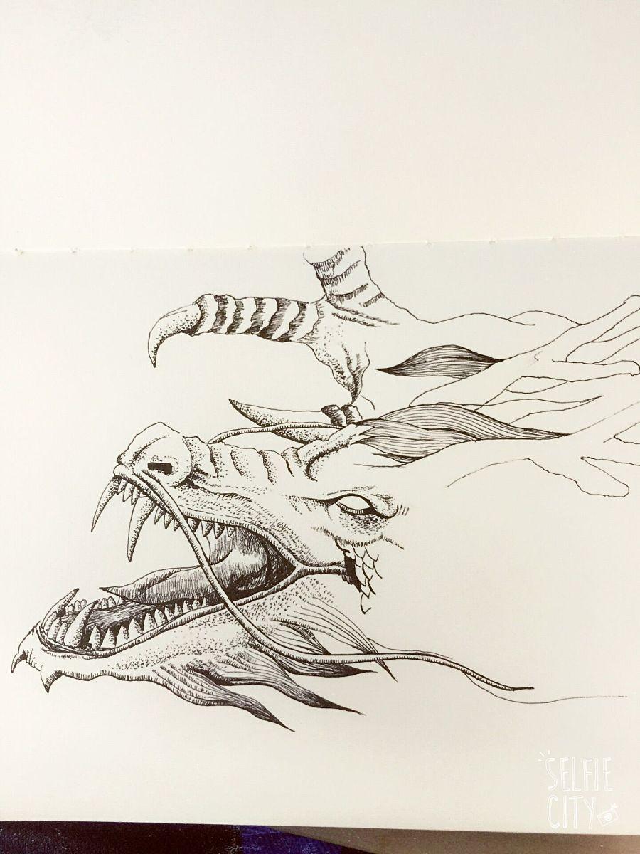 针管笔画手绘龙