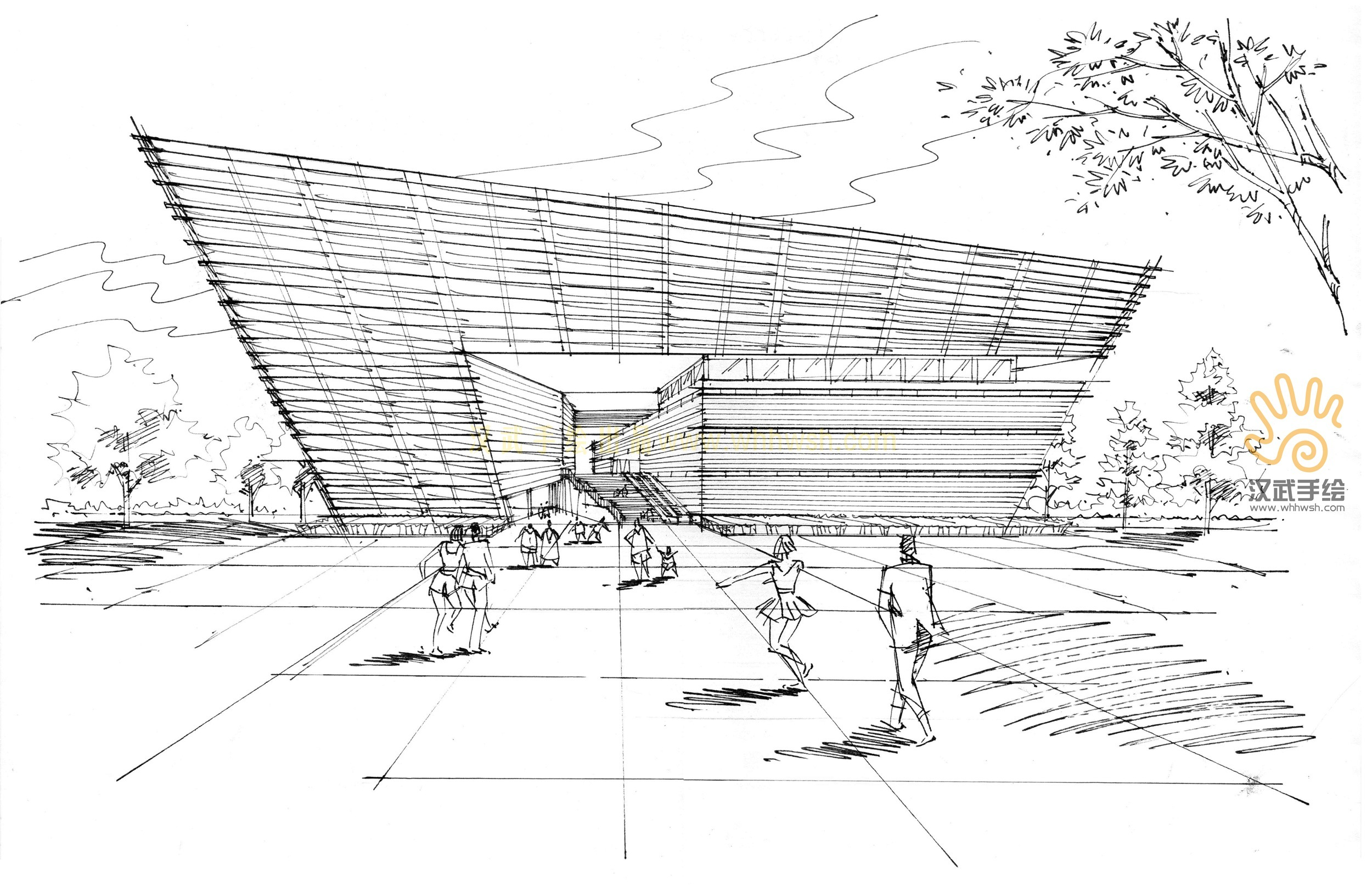 双十一建筑手绘作品|空间|建筑设计|汉武手绘 - 原创