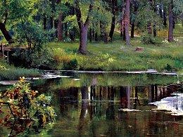风景油画作品《林边小池塘》