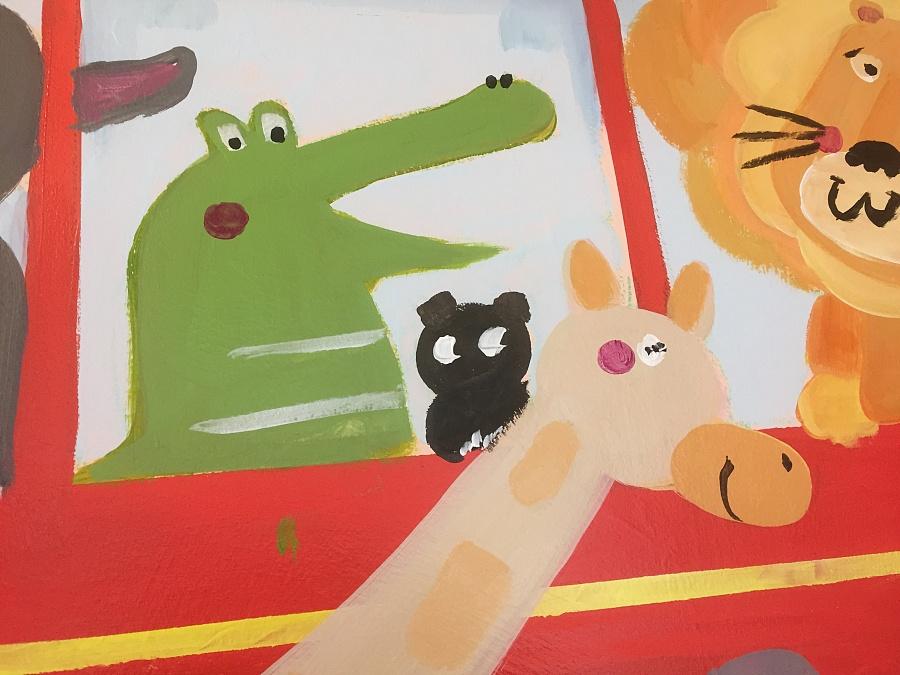 卡通儿童理发店墙绘