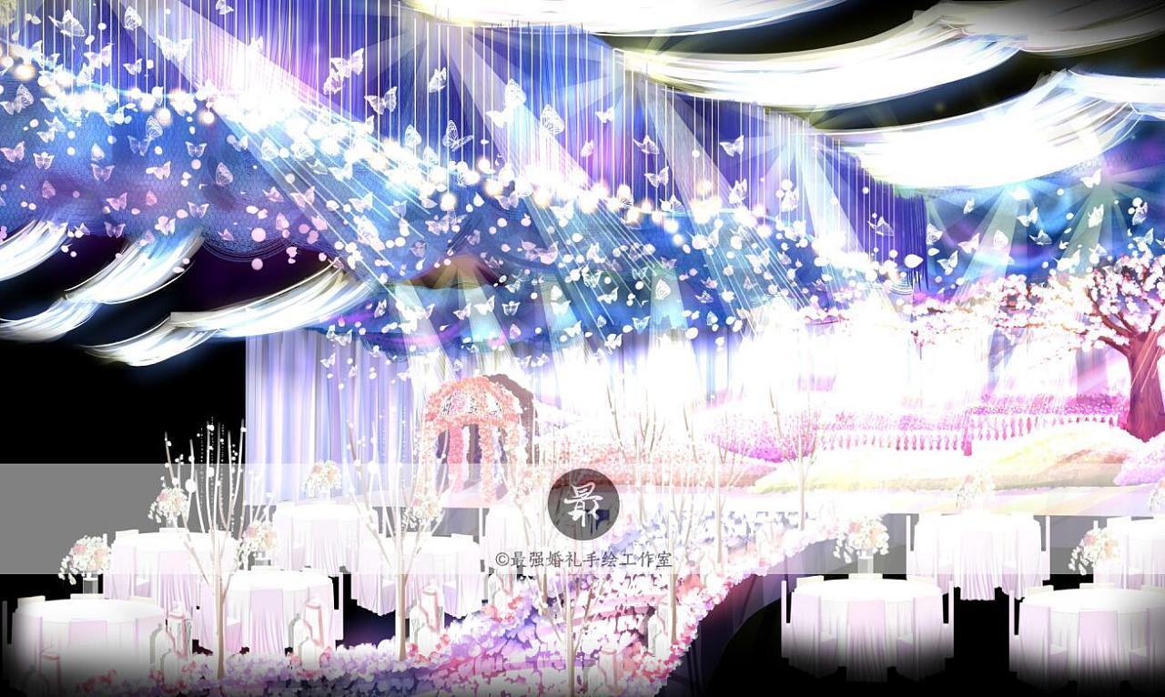 【婚礼手绘】紫色梦幻电脑手绘效果图