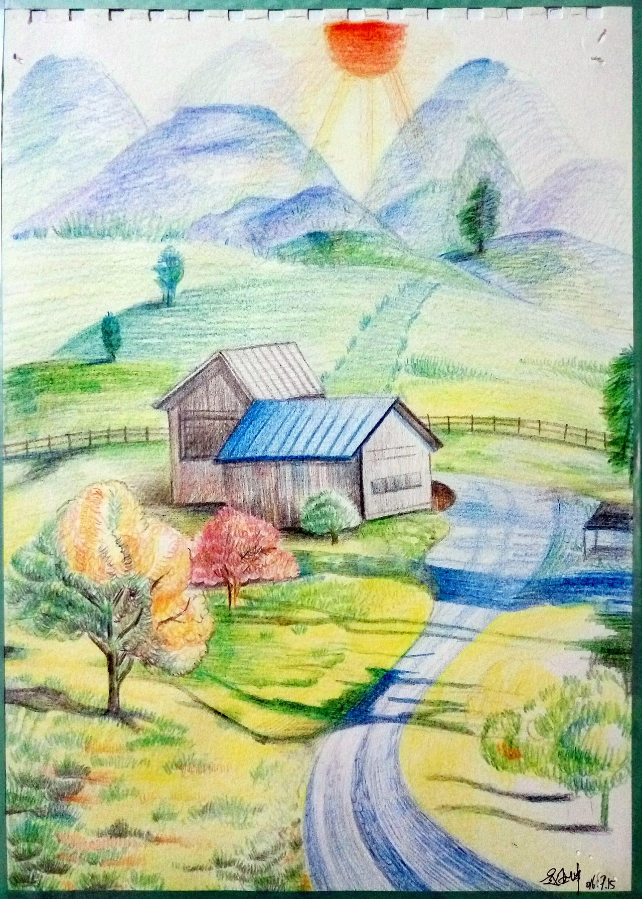 彩铅风景|纯艺术|彩铅|彩虹在哪里 - 原创作品 - 站酷图片
