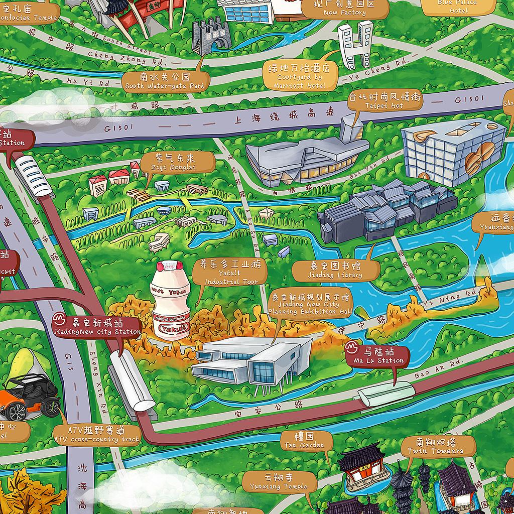 2015上海嘉定旅游手绘地图