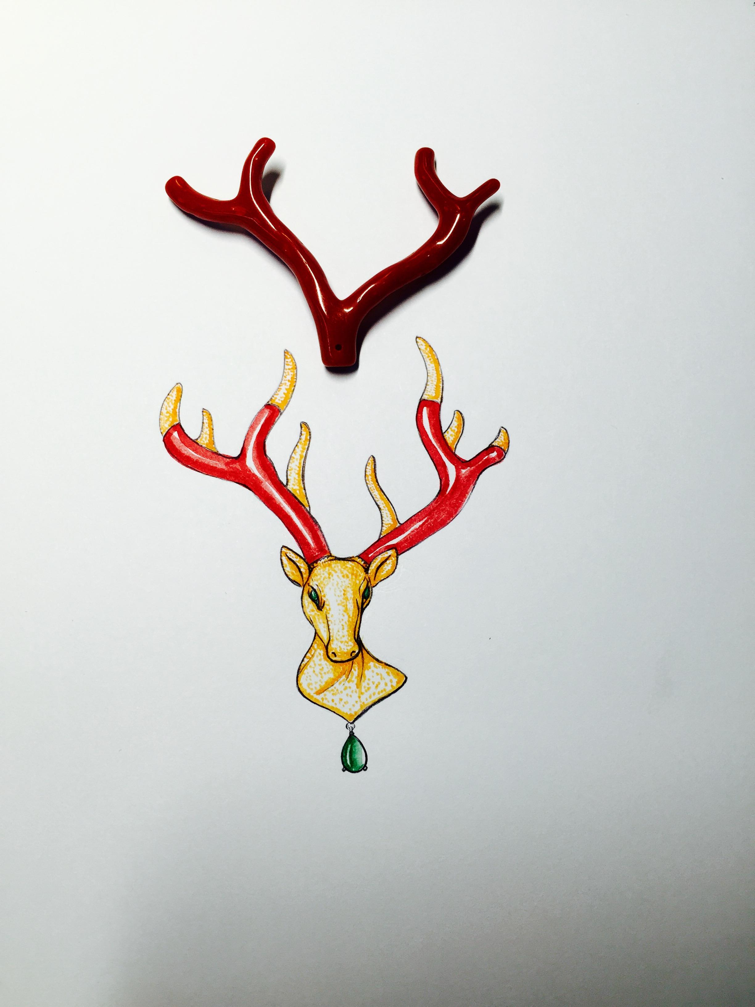 """珠宝定制,珊瑚镶嵌设计就,""""禄""""动物珠宝设计,代波军艺术珠宝作品,手绘"""