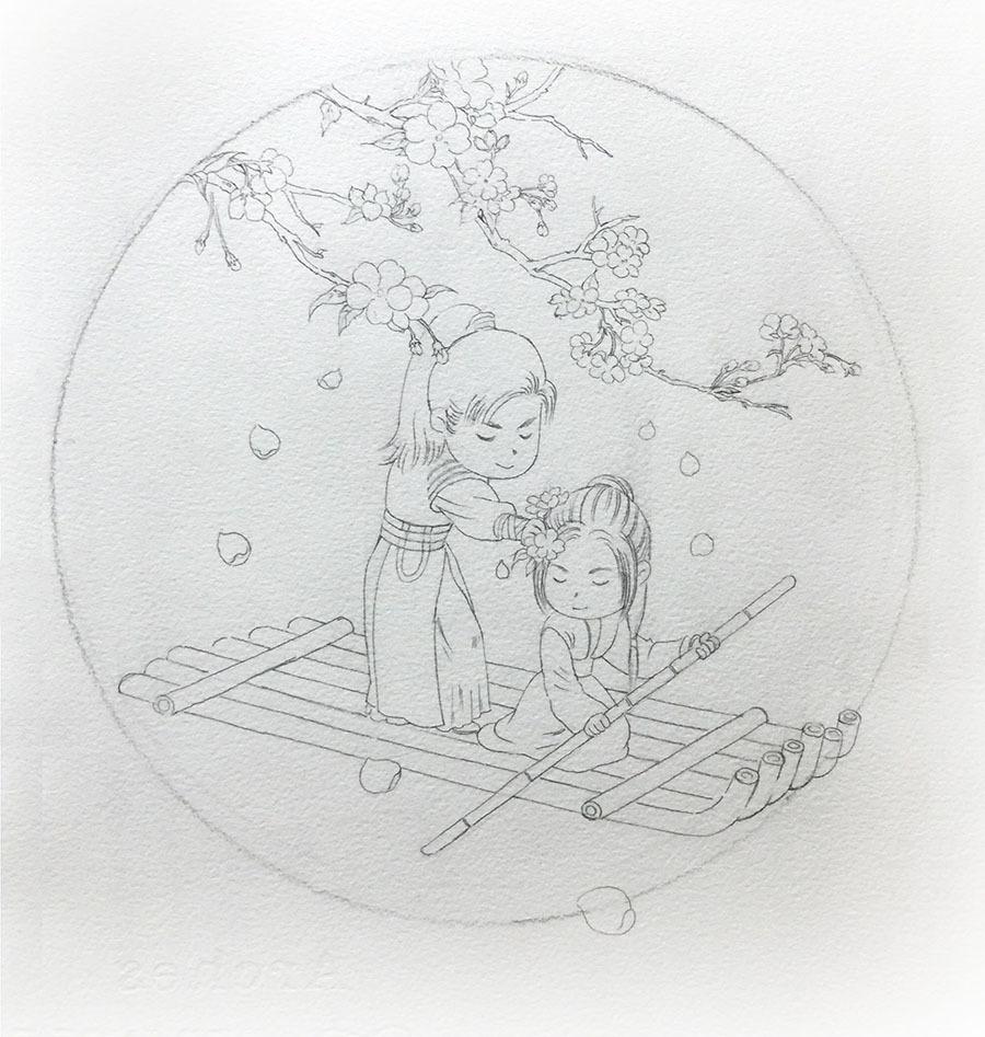手绘水彩琅琊榜步骤图