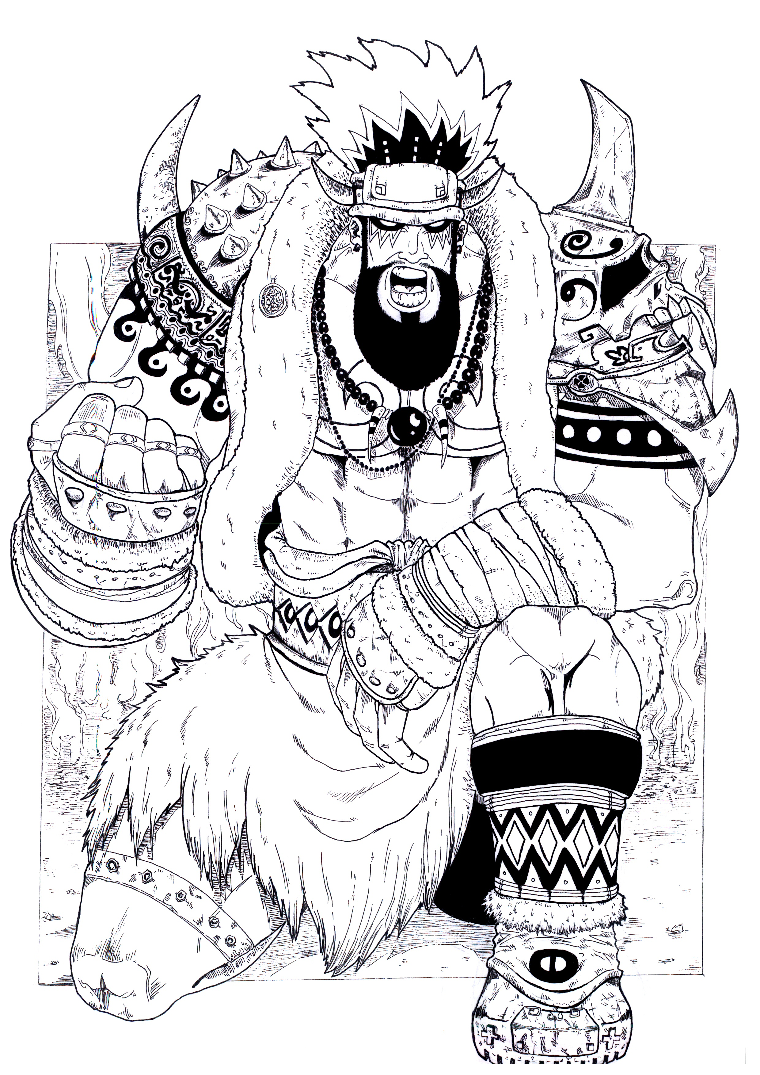 原创三国人物黑白插画