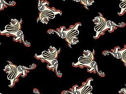 神兽獬豸——动物图案面料四方连续印花设计