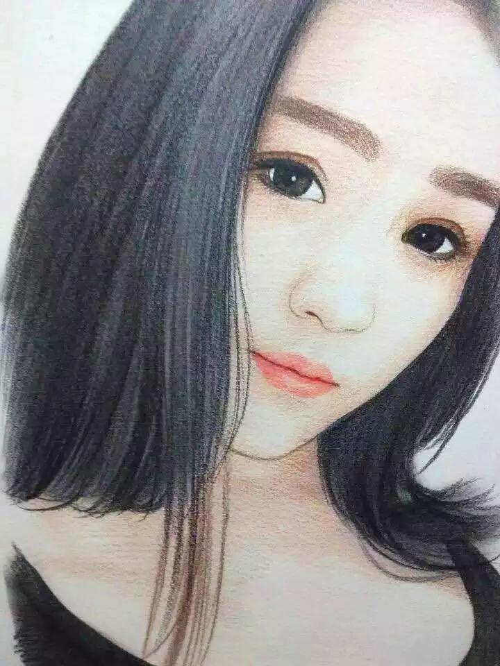 彩铅手绘女生发型图片