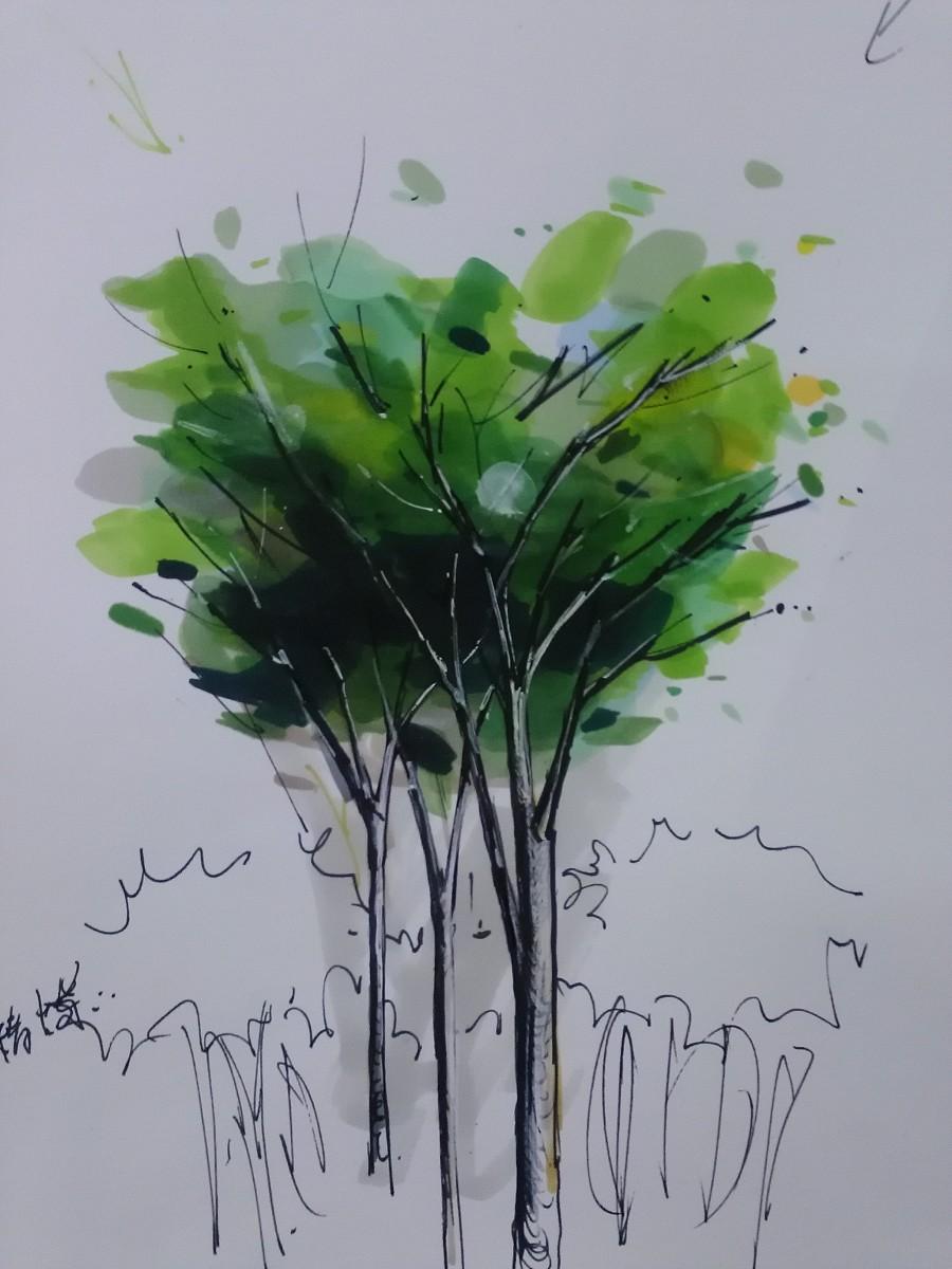 马克画图片 植物